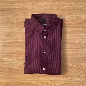 H&M Mens Slim Fit Dress Shirt XL Burgundy Dotted